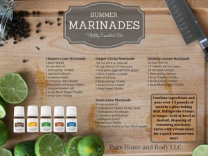 Marinade made with food grade essential oils