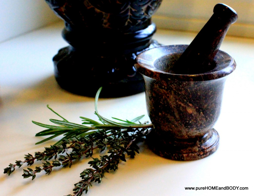 Using a mortar and pestle is the easiest way to crush firm herbs like Rosemary and Thyme