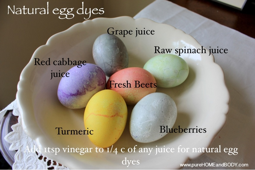 Color eggs with vegetables
