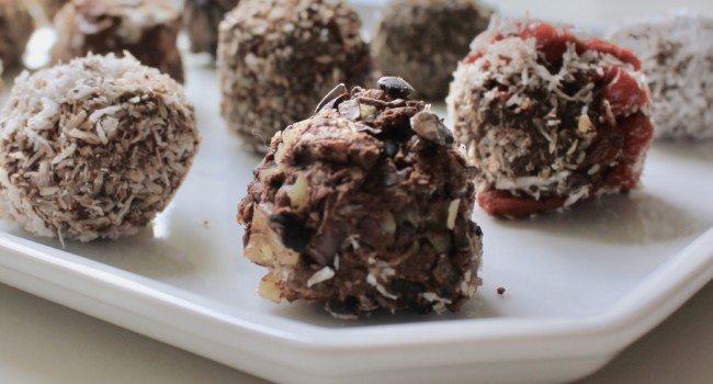 Natural truffles with cocoa and coconut