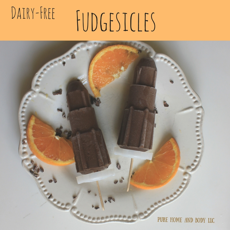 Homemade Fudgesicles, Cocoa and almond milk, Popsicles